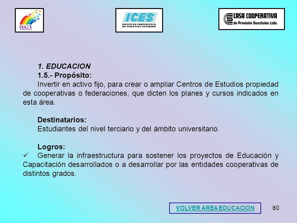 60 1. EDUCACION 1.5.- Propósito: Invertir en activo fijo, para crear o ampliar Centros de Estudios propiedad de cooperativas o federaciones, que dicte