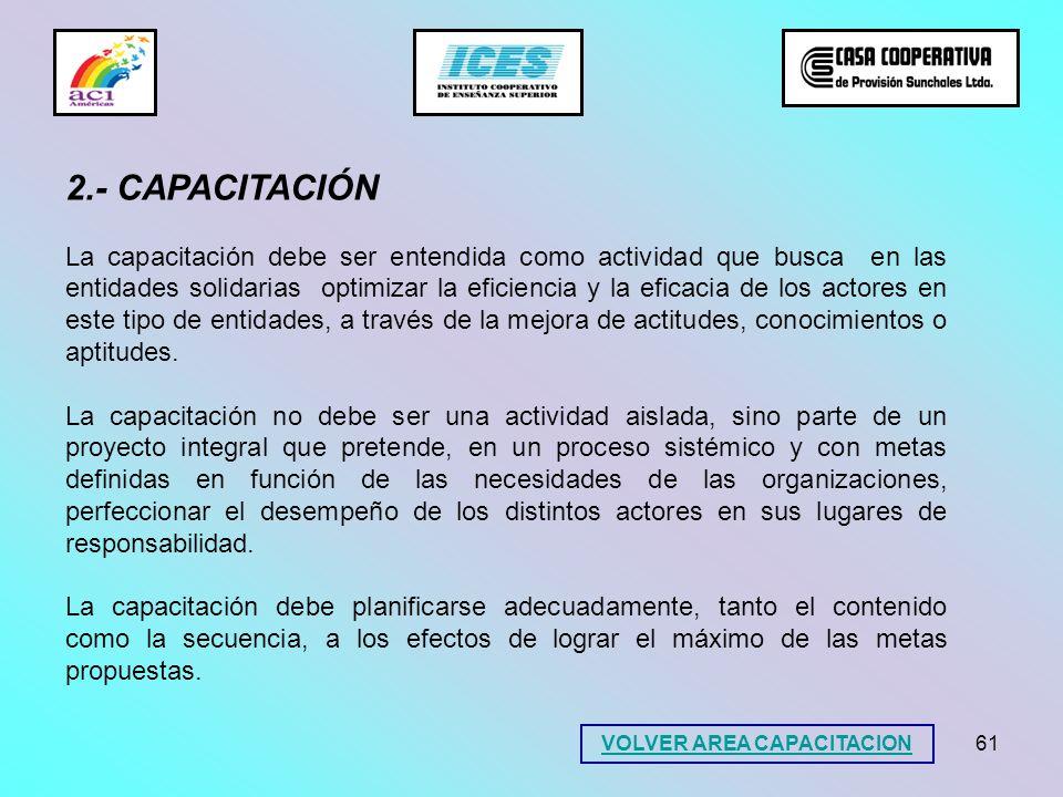 61 VOLVER AREA CAPACITACION 2.- CAPACITACIÓN La capacitación debe ser entendida como actividad que busca en las entidades solidarias optimizar la efic