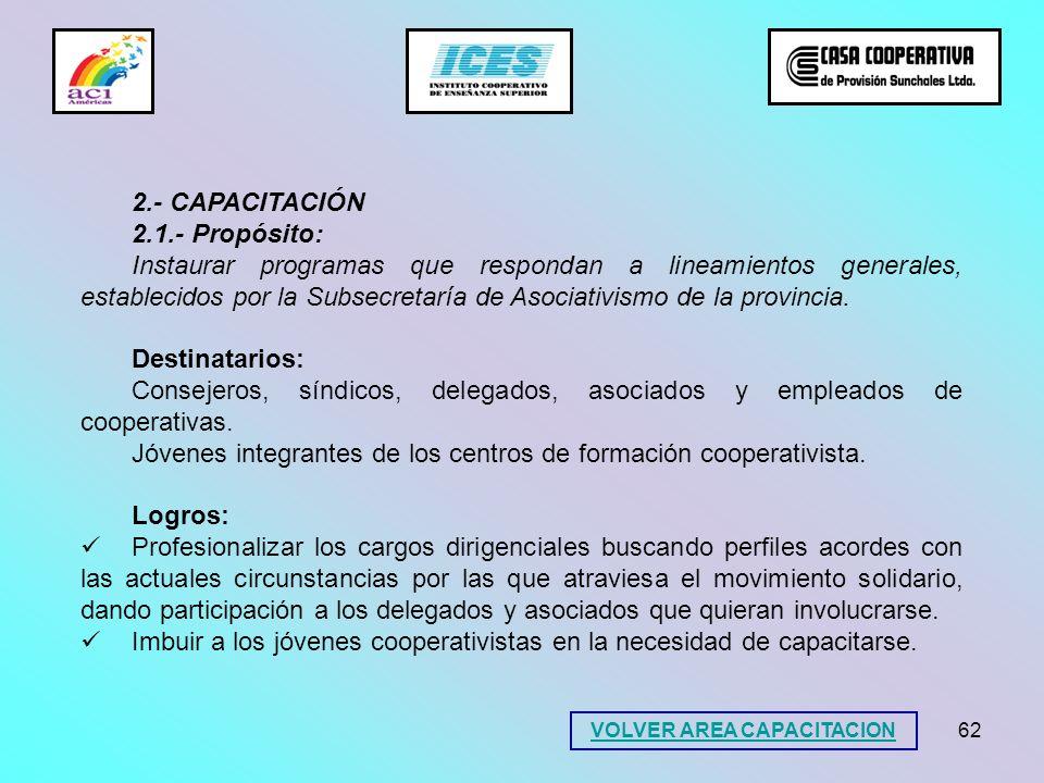 62 2.- CAPACITACIÓN 2.1.- Propósito: Instaurar programas que respondan a lineamientos generales, establecidos por la Subsecretaría de Asociativismo de
