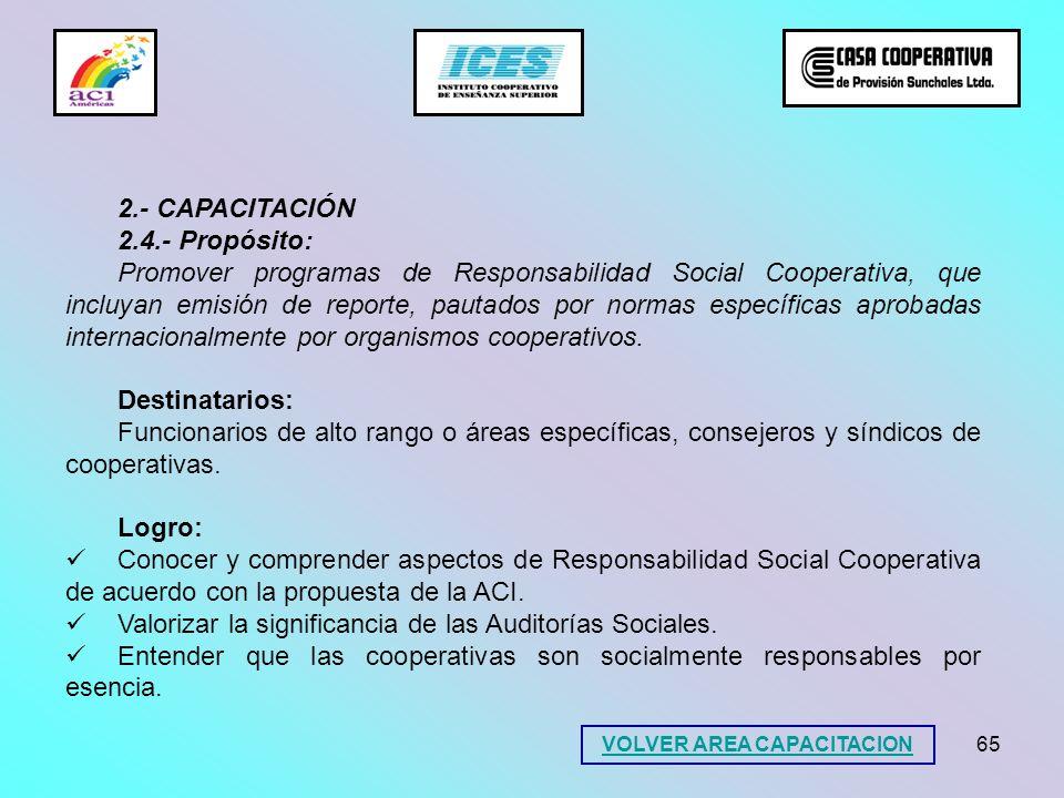 65 2.- CAPACITACIÓN 2.4.- Propósito: Promover programas de Responsabilidad Social Cooperativa, que incluyan emisión de reporte, pautados por normas es