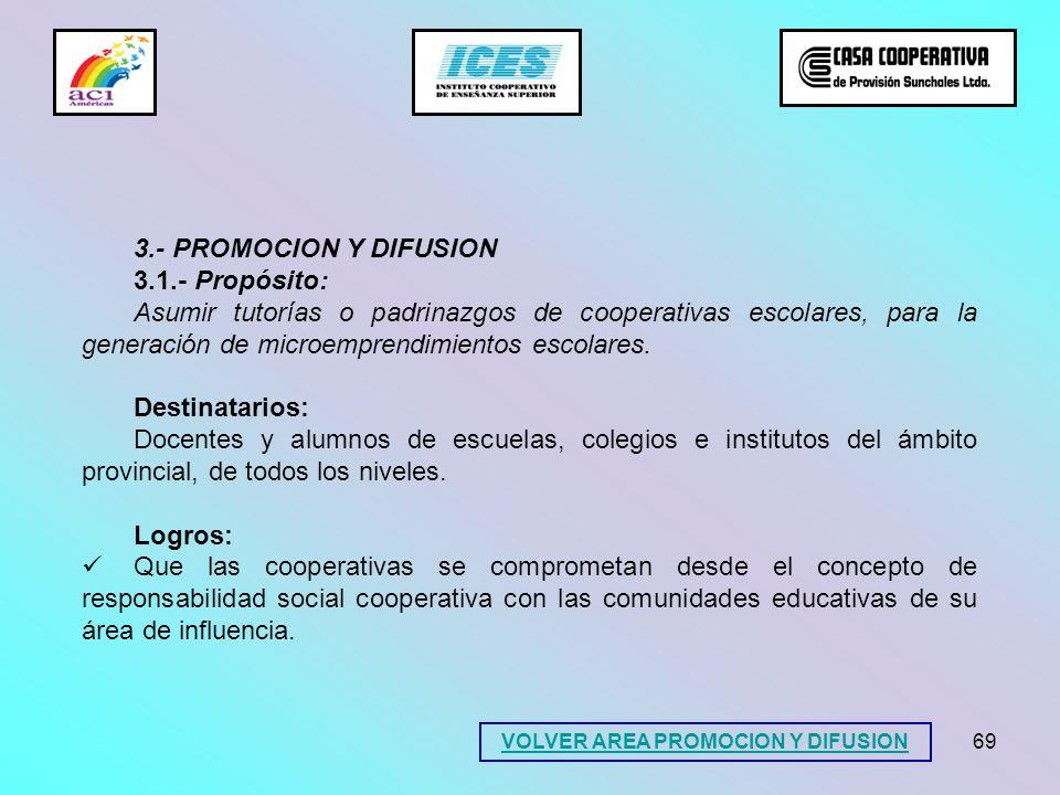 69 3.- PROMOCION Y DIFUSION 3.1.- Propósito: Asumir tutorías o padrinazgos de cooperativas escolares, para la generación de microemprendimientos escol