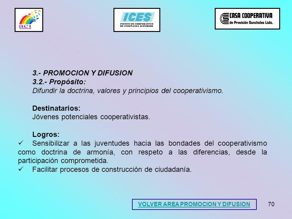 70 3.- PROMOCION Y DIFUSION 3.2.- Propósito: Difundir la doctrina, valores y principios del cooperativismo. Destinatarios: Jóvenes potenciales coopera