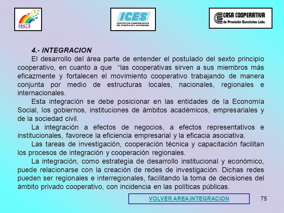 75 VOLVER AREA INTEGRACION 4.- INTEGRACION El desarrollo del área parte de entender el postulado del sexto principio cooperativo, en cuanto a que las
