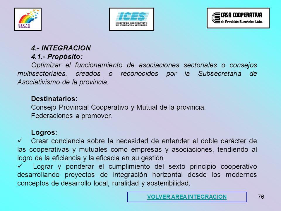 76 4.- INTEGRACION 4.1.- Propósito: Optimizar el funcionamiento de asociaciones sectoriales o consejos multisectoriales, creados o reconocidos por la