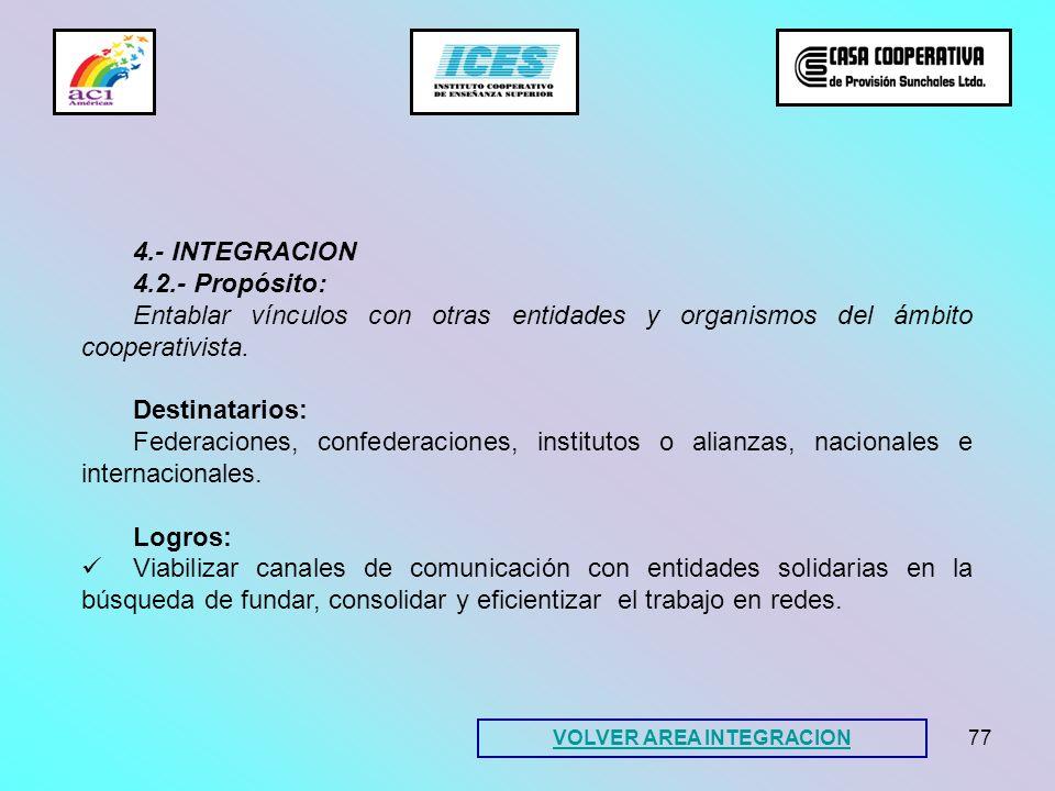 77 4.- INTEGRACION 4.2.- Propósito: Entablar vínculos con otras entidades y organismos del ámbito cooperativista. Destinatarios: Federaciones, confede