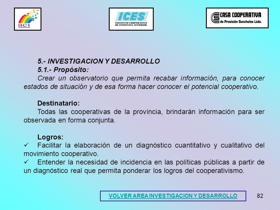 82 5.- INVESTIGACION Y DESARROLLO 5.1.- Propósito: Crear un observatorio que permita recabar información, para conocer estados de situación y de esa f