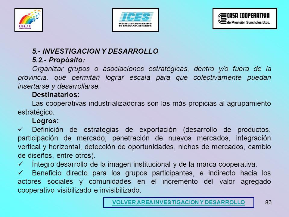 83 5.- INVESTIGACION Y DESARROLLO 5.2.- Propósito: Organizar grupos o asociaciones estratégicas, dentro y/o fuera de la provincia, que permitan lograr