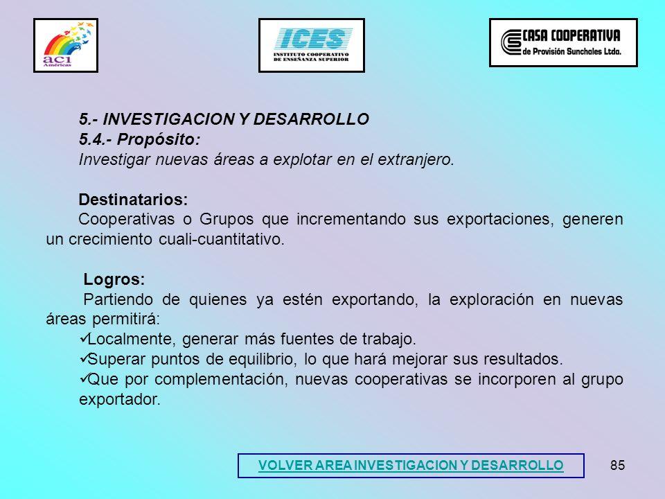 85 5.- INVESTIGACION Y DESARROLLO 5.4.- Propósito: Investigar nuevas áreas a explotar en el extranjero. Destinatarios: Cooperativas o Grupos que incre