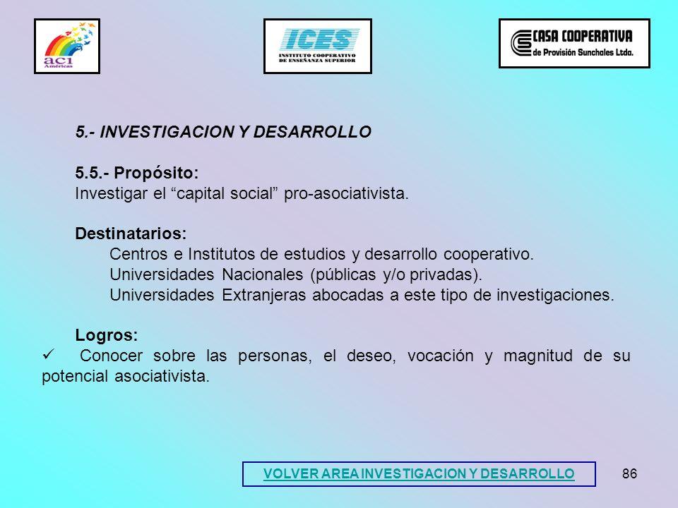 86 5.- INVESTIGACION Y DESARROLLO 5.5.- Propósito: Investigar el capital social pro-asociativista. Destinatarios: Centros e Institutos de estudios y d