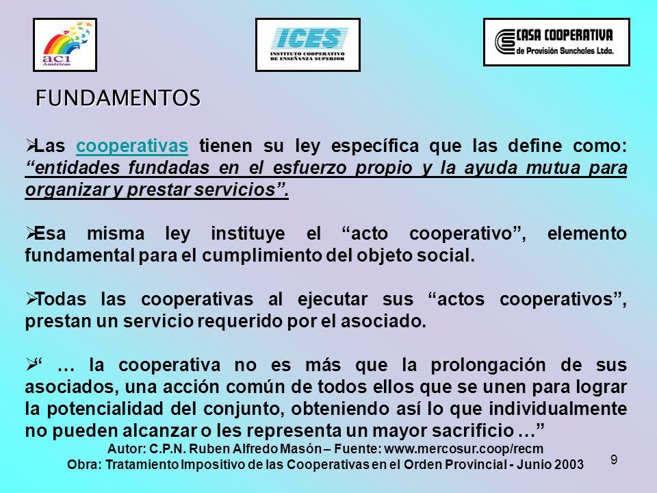 9 FUNDAMENTOS Las cooperativas tienen su ley específica que las define como: entidades fundadas en el esfuerzo propio y la ayuda mutua para organizar
