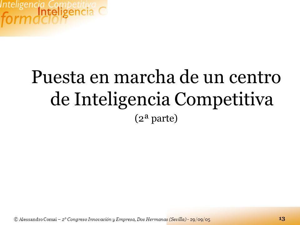 © Alessandro Comai – 2° Congreso Innovación y Empresa, Dos Hermanas (Sevilla) - 29/09/05 13 Puesta en marcha de un centro de Inteligencia Competitiva