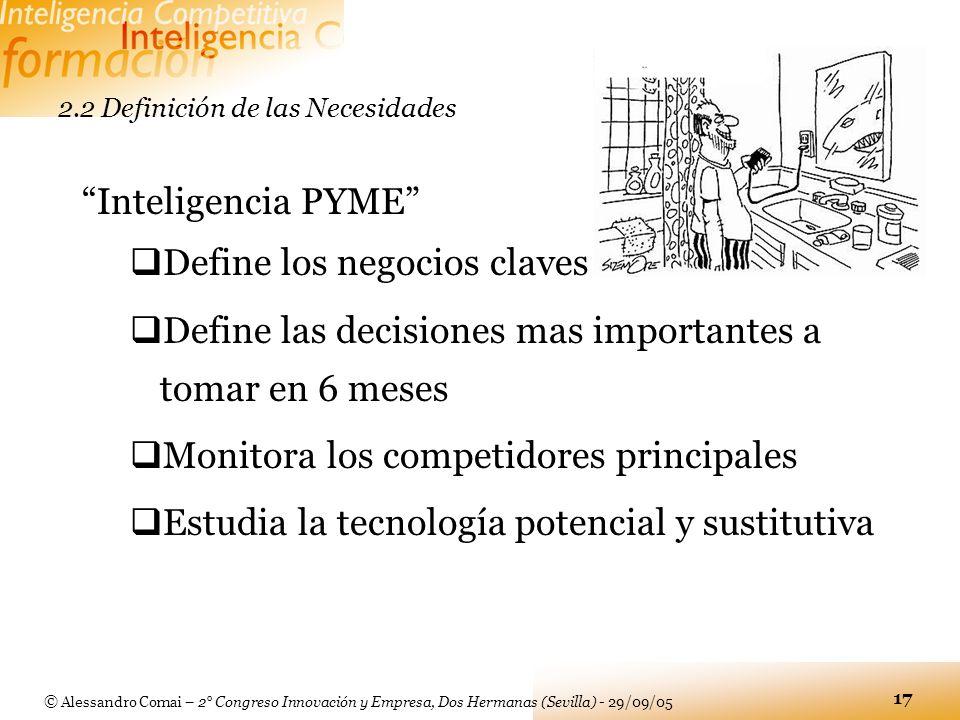 © Alessandro Comai – 2° Congreso Innovación y Empresa, Dos Hermanas (Sevilla) - 29/09/05 17 Inteligencia PYME Define los negocios claves Define las de