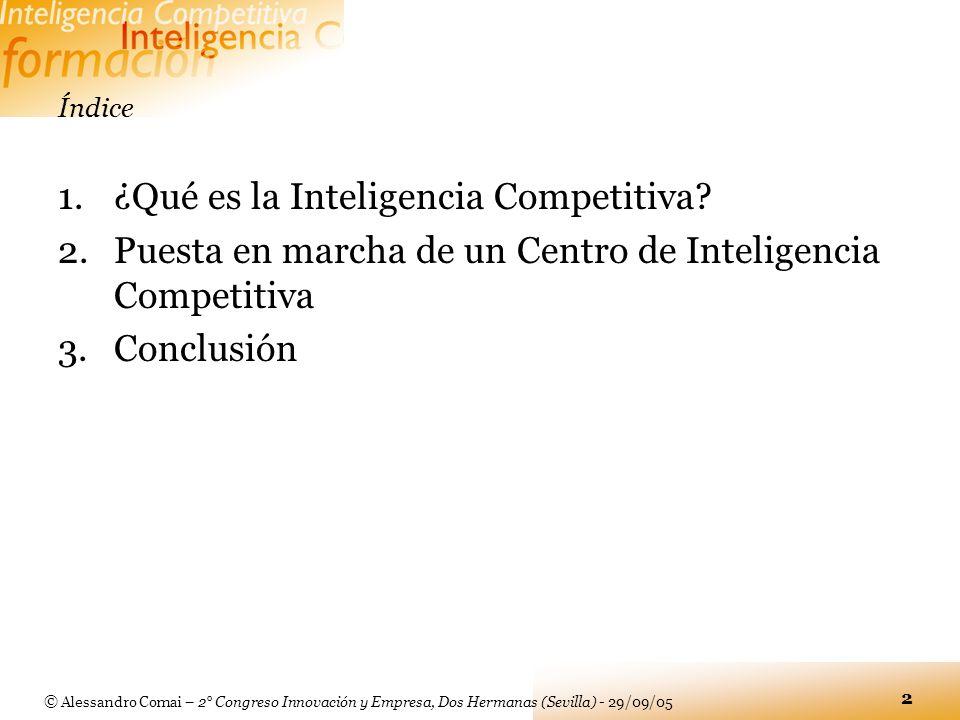 © Alessandro Comai – 2° Congreso Innovación y Empresa, Dos Hermanas (Sevilla) - 29/09/05 2 Índice 1.¿Qué es la Inteligencia Competitiva? 2.Puesta en m