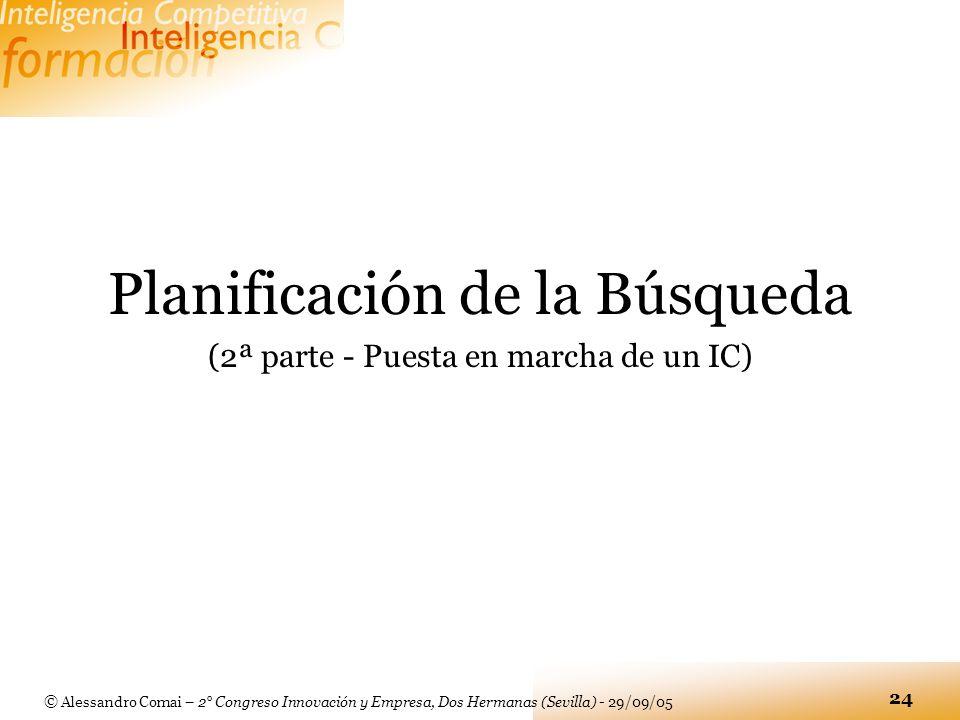 © Alessandro Comai – 2° Congreso Innovación y Empresa, Dos Hermanas (Sevilla) - 29/09/05 24 Planificación de la Búsqueda (2ª parte - Puesta en marcha