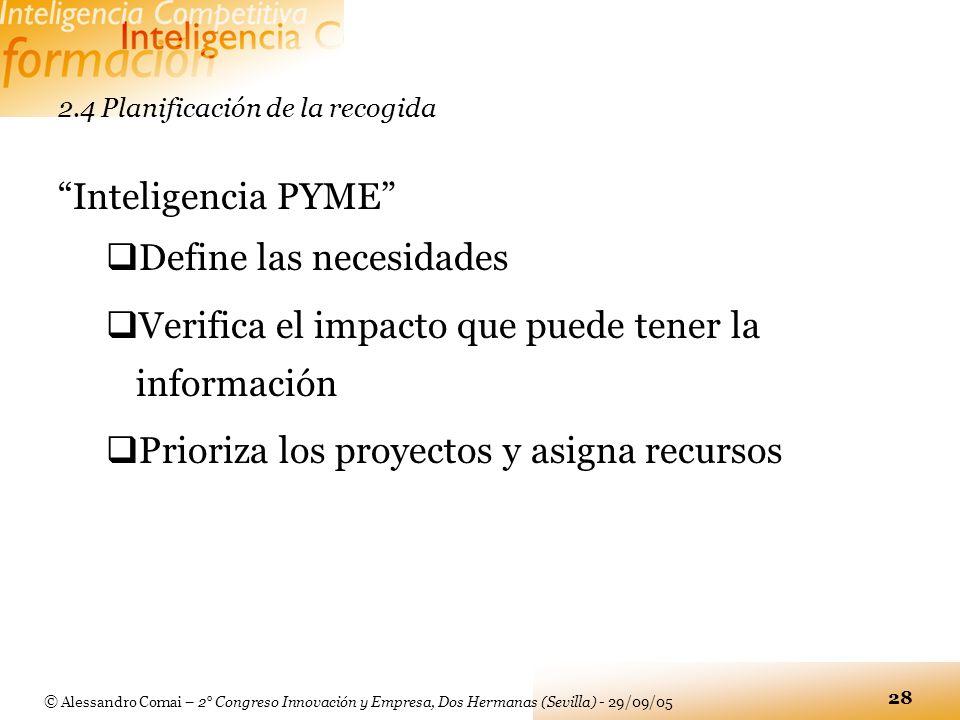 © Alessandro Comai – 2° Congreso Innovación y Empresa, Dos Hermanas (Sevilla) - 29/09/05 28 2.4 Planificación de la recogida Inteligencia PYME Define