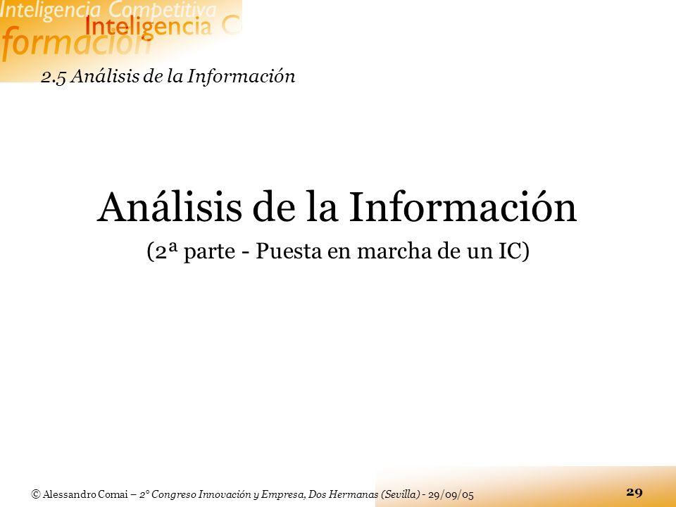 © Alessandro Comai – 2° Congreso Innovación y Empresa, Dos Hermanas (Sevilla) - 29/09/05 29 2.5 Análisis de la Información Análisis de la Información