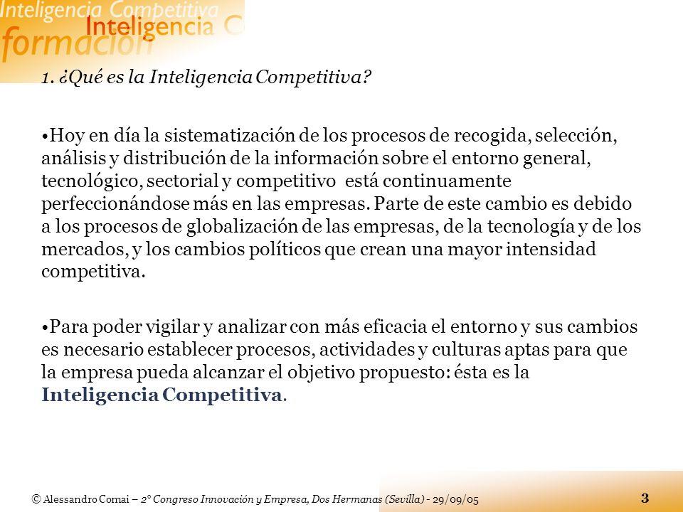 © Alessandro Comai – 2° Congreso Innovación y Empresa, Dos Hermanas (Sevilla) - 29/09/05 3 1. ¿Qué es la Inteligencia Competitiva? Hoy en día la siste