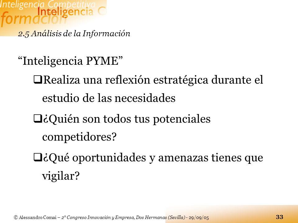 © Alessandro Comai – 2° Congreso Innovación y Empresa, Dos Hermanas (Sevilla) - 29/09/05 33 2.5 Análisis de la Información Inteligencia PYME Realiza u