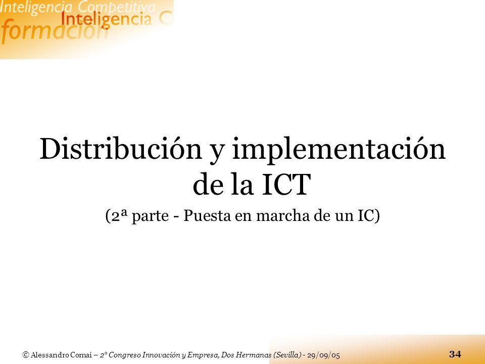 © Alessandro Comai – 2° Congreso Innovación y Empresa, Dos Hermanas (Sevilla) - 29/09/05 34 Distribución y implementación de la ICT (2ª parte - Puesta