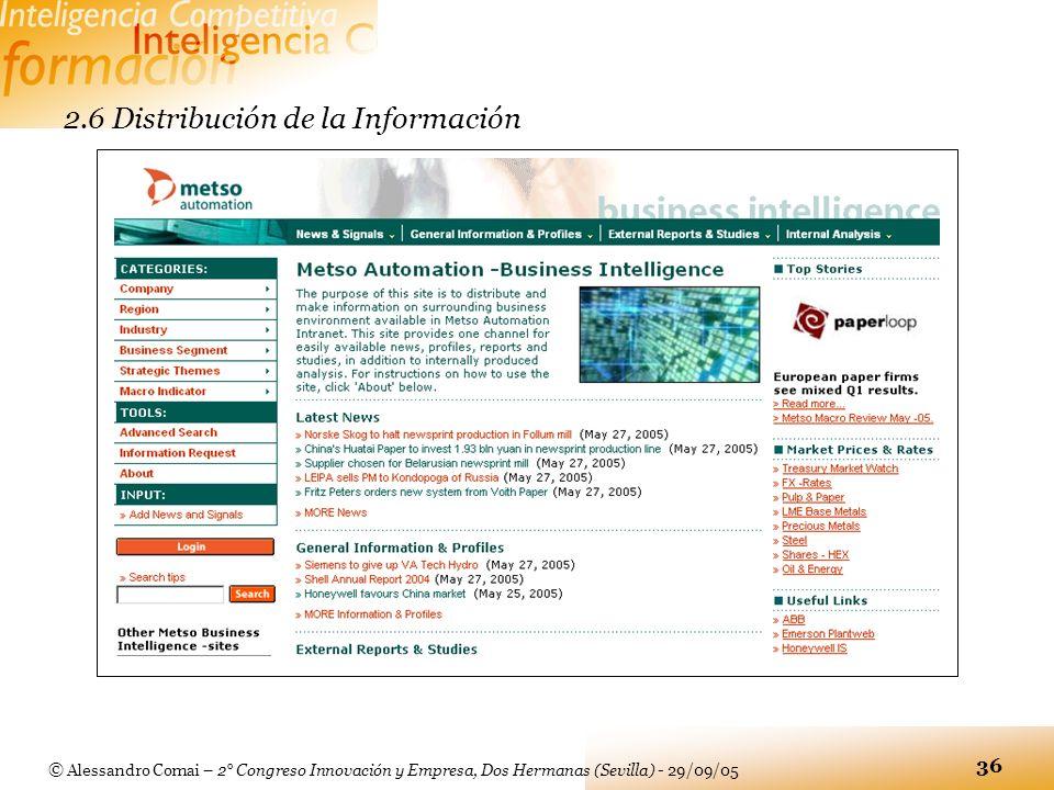 © Alessandro Comai – 2° Congreso Innovación y Empresa, Dos Hermanas (Sevilla) - 29/09/05 36 2.6 Distribución de la Información