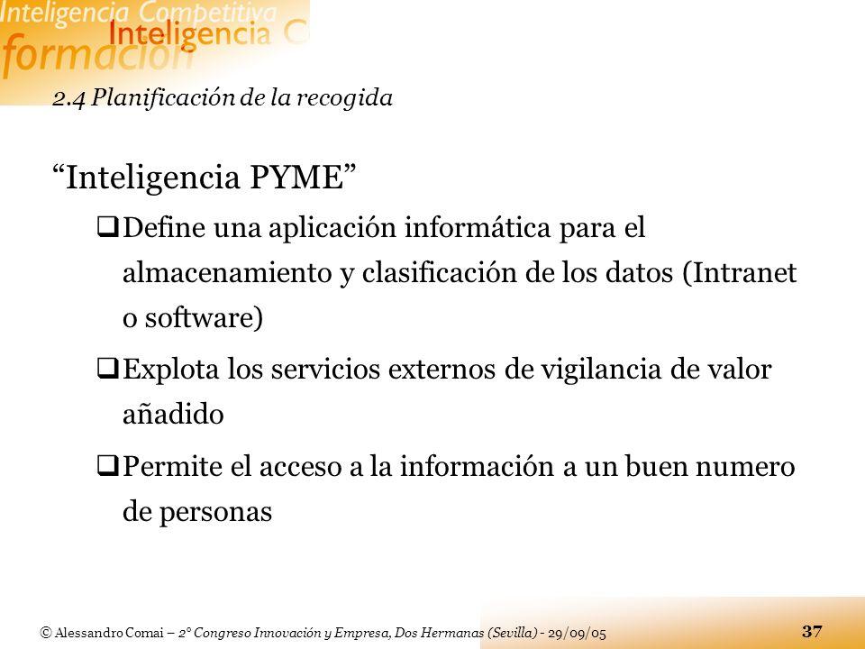 © Alessandro Comai – 2° Congreso Innovación y Empresa, Dos Hermanas (Sevilla) - 29/09/05 37 2.4 Planificación de la recogida Inteligencia PYME Define