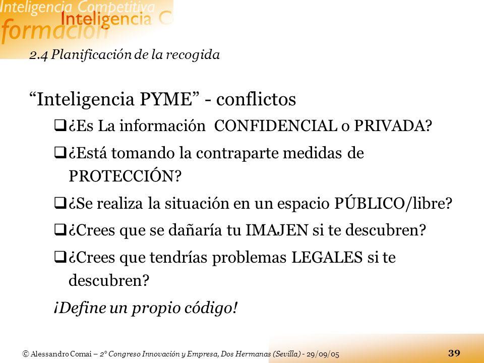 © Alessandro Comai – 2° Congreso Innovación y Empresa, Dos Hermanas (Sevilla) - 29/09/05 39 2.4 Planificación de la recogida Inteligencia PYME - confl