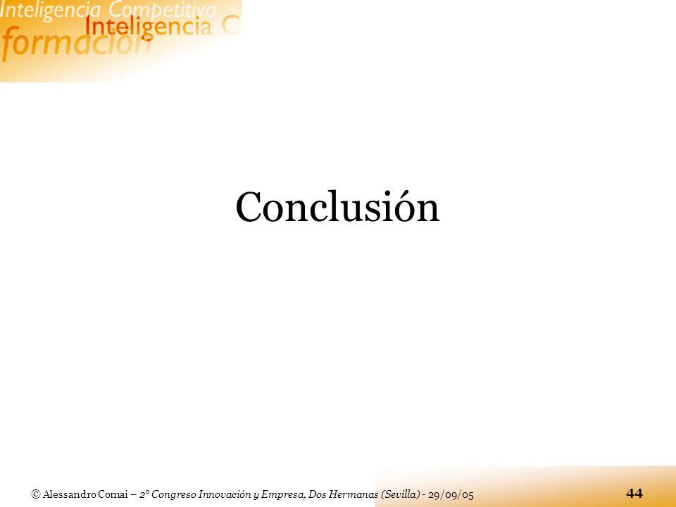 © Alessandro Comai – 2° Congreso Innovación y Empresa, Dos Hermanas (Sevilla) - 29/09/05 44 Conclusión