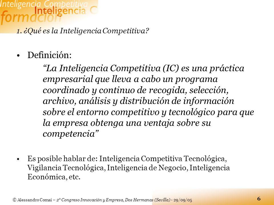 © Alessandro Comai – 2° Congreso Innovación y Empresa, Dos Hermanas (Sevilla) - 29/09/05 6 1. ¿Qué es la Inteligencia Competitiva? Definición: La Inte