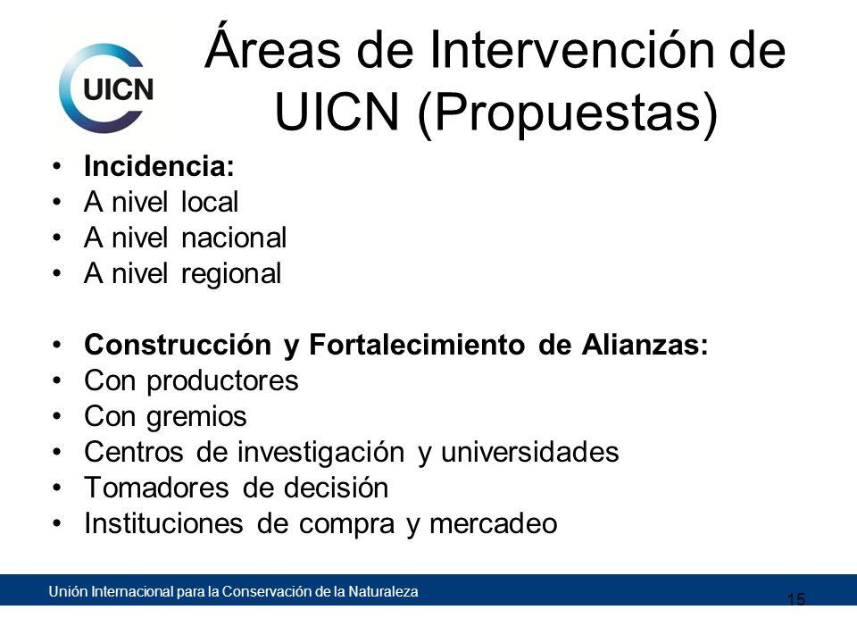 Unión Internacional para la Conservación de la Naturaleza Áreas de Intervención de UICN (Propuestas) Incidencia: A nivel local A nivel nacional A nive