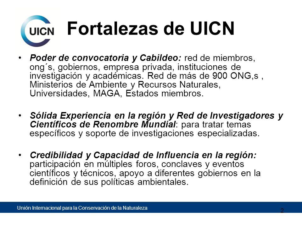 Unión Internacional para la Conservación de la Naturaleza Fortalezas de UICN Poder de convocatoria y Cabildeo: red de miembros, ong´s, gobiernos, empr