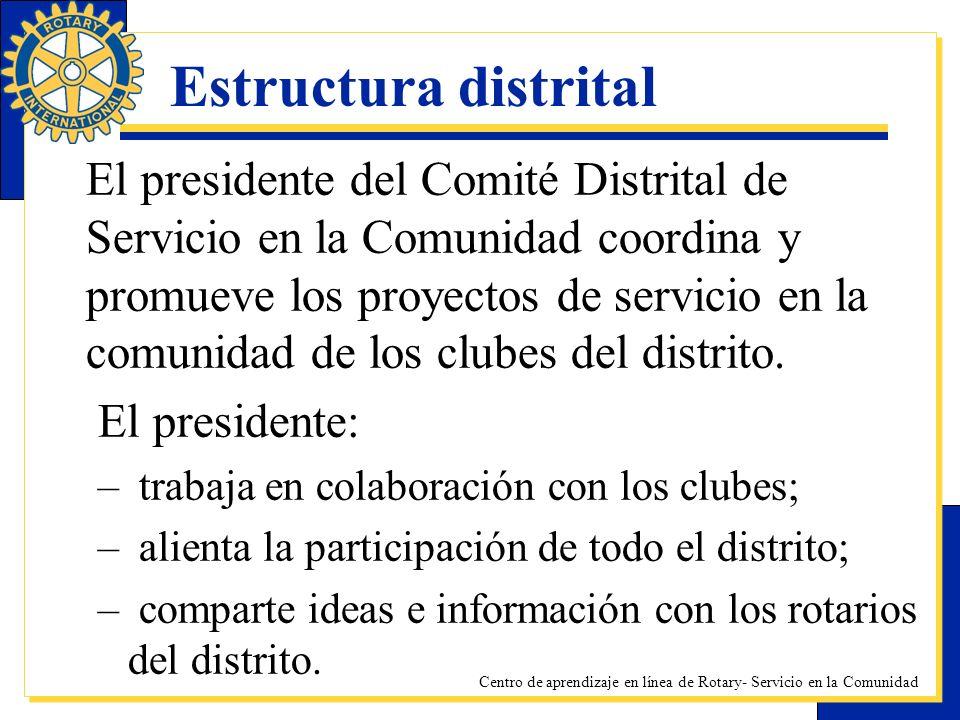 Centro de aprendizaje en línea de Rotary- Servicio en la Comunidad Estructura distrital El presidente del Comité Distrital de Servicio en la Comunidad
