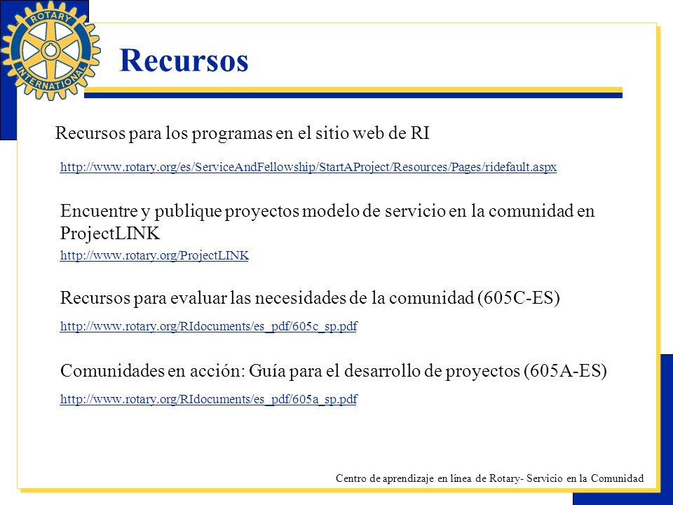 Centro de aprendizaje en línea de Rotary- Servicio en la Comunidad Recursos Recursos para los programas en el sitio web de RI http://www.rotary.org/es
