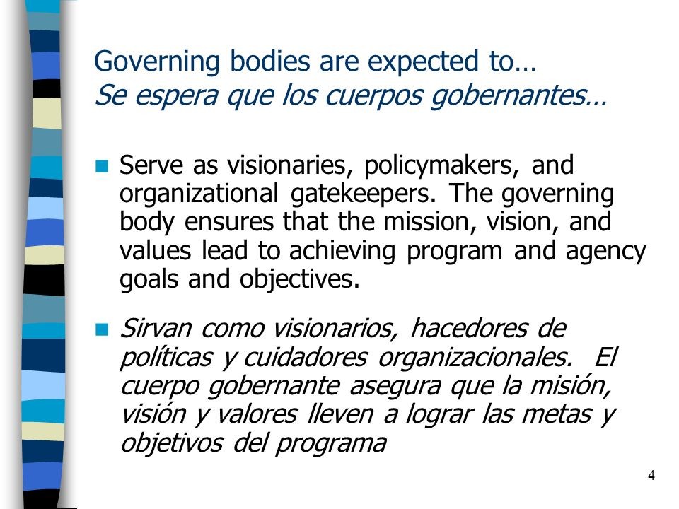 15 Responsibilities of the Governing Body Responsabilidades del Cuerpo Gobernante Safeguard the organization s assets.
