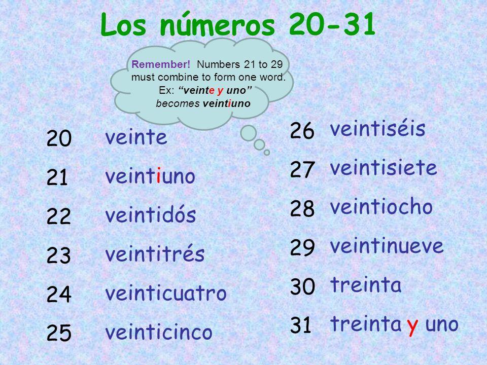 Los números 20-31 20 21 22 23 24 25 26 27 28 29 30 31 veinte veintiuno veintidós veintitrés veinticuatro veinticinco veintiséis veintisiete veintiocho