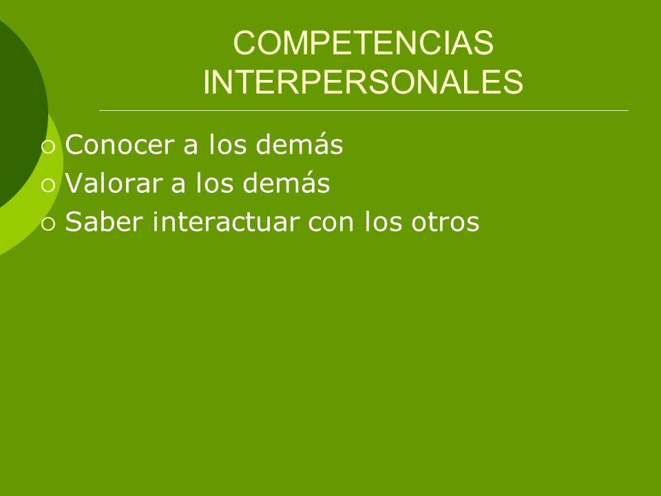 COMPETENCIAS INTERPERSONALES Conocer a los demás Valorar a los demás Saber interactuar con los otros