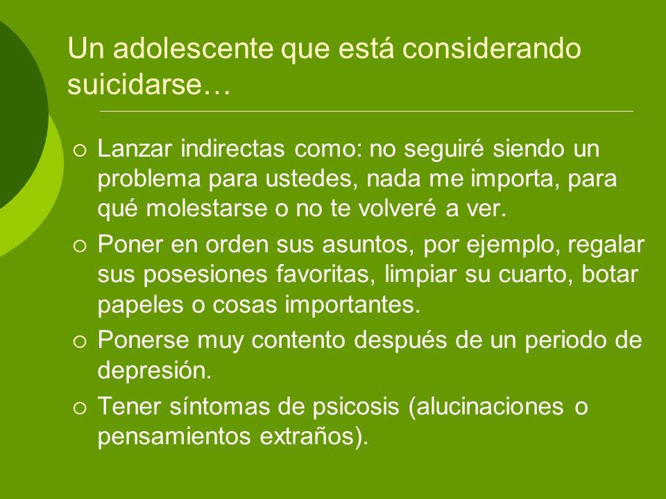Un adolescente que está considerando suicidarse… Lanzar indirectas como: no seguiré siendo un problema para ustedes, nada me importa, para qué molesta