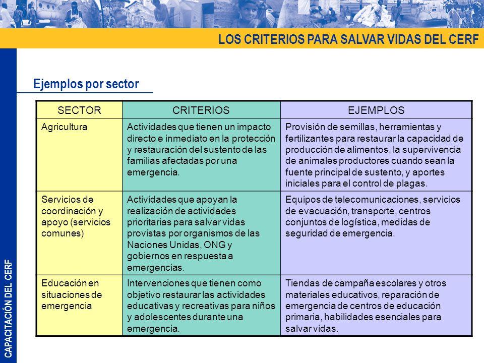 CAPACITACIÓN DEL CERF LOS CRITERIOS PARA SALVAR VIDAS DEL CERF Ejemplos por sector SECTORCRITERIOSEJEMPLOS AgriculturaActividades que tienen un impacto directo e inmediato en la protección y restauración del sustento de las familias afectadas por una emergencia.