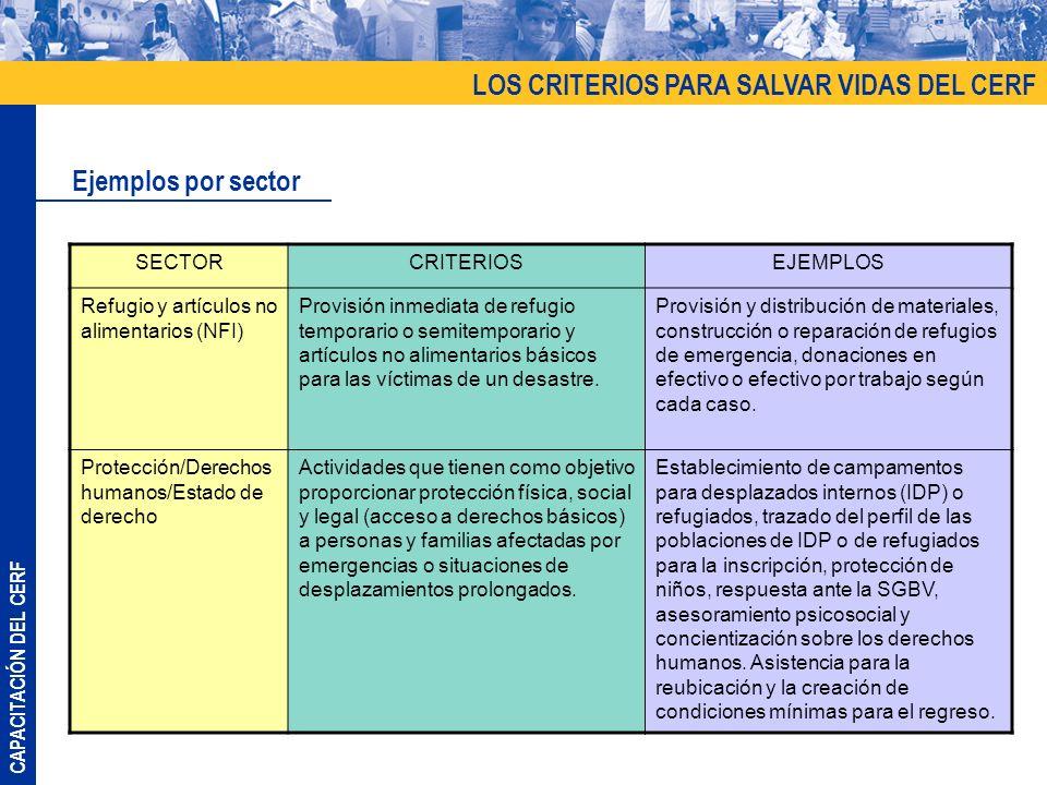 CAPACITACIÓN DEL CERF LOS CRITERIOS PARA SALVAR VIDAS DEL CERF Ejemplos por sector SECTORCRITERIOSEJEMPLOS Refugio y artículos no alimentarios (NFI) P