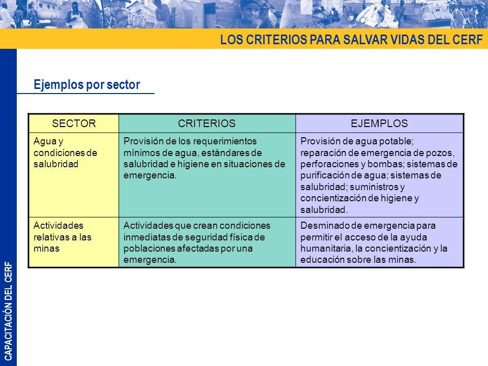 CAPACITACIÓN DEL CERF LOS CRITERIOS PARA SALVAR VIDAS DEL CERF Ejemplos por sector SECTORCRITERIOSEJEMPLOS Agua y condiciones de salubridad Provisión