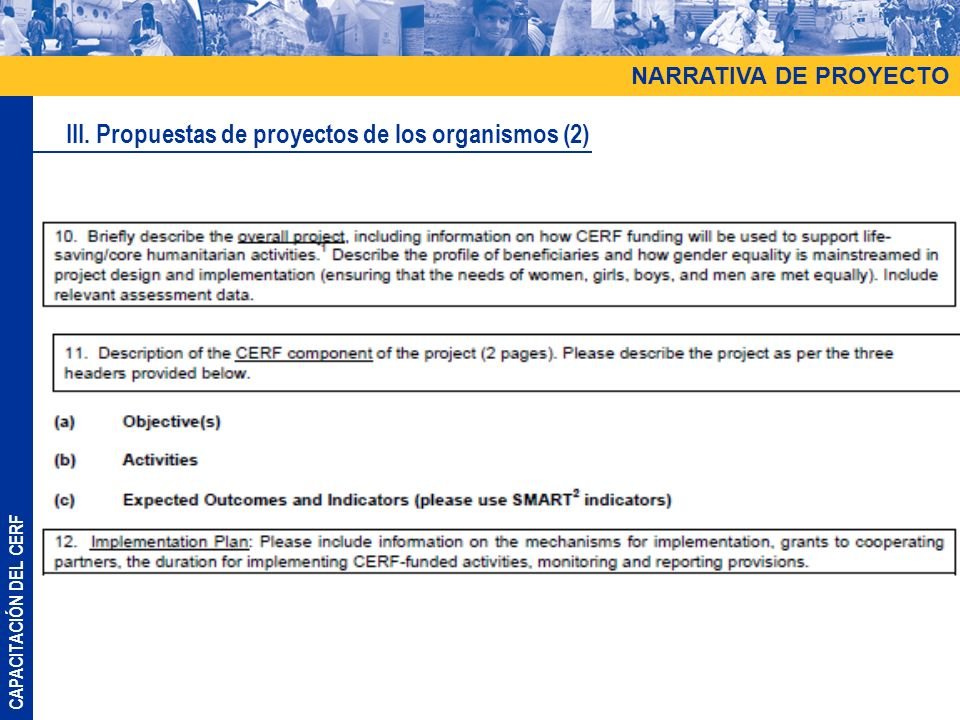 CAPACITACIÓN DEL CERF NARRATIVA DE PROYECTO III. Propuestas de proyectos de los organismos (2)