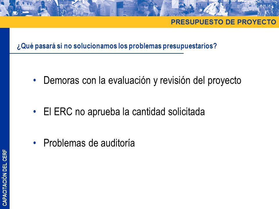 CAPACITACIÓN DEL CERF Demoras con la evaluación y revisión del proyecto El ERC no aprueba la cantidad solicitada Problemas de auditoría PRESUPUESTO DE PROYECTO ¿Qué pasará si no solucionamos los problemas presupuestarios?