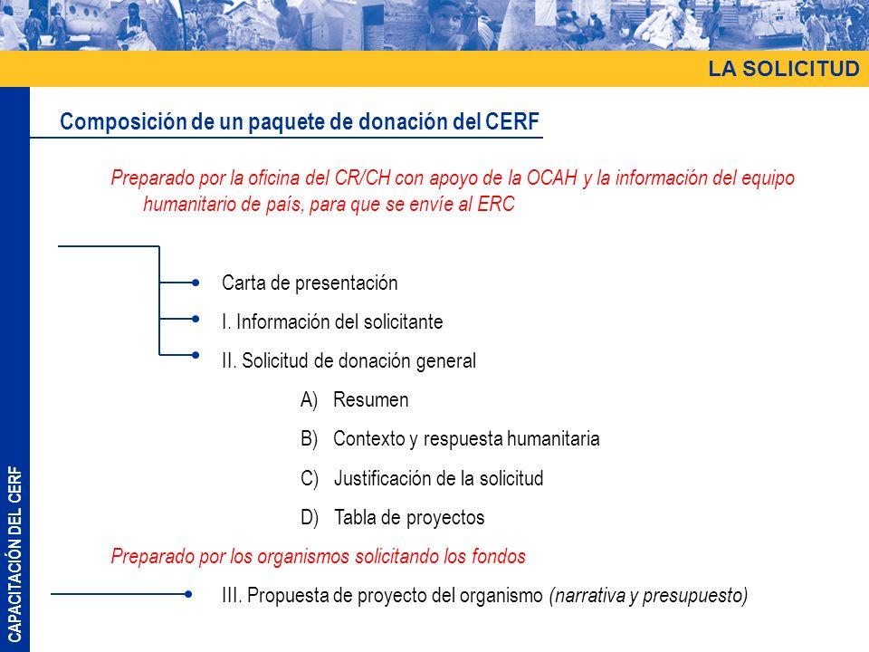 CAPACITACIÓN DEL CERF LA SOLICITUD Composición de un paquete de donación del CERF Preparado por la oficina del CR/CH con apoyo de la OCAH y la información del equipo humanitario de país, para que se envíe al ERC Carta de presentación I.