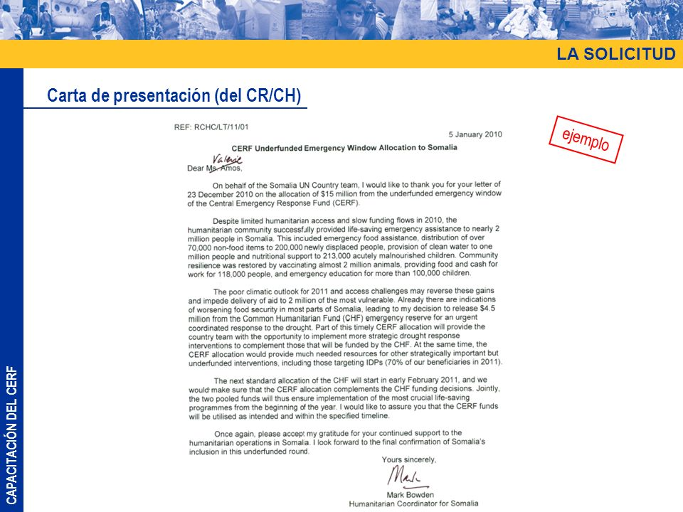 CAPACITACIÓN DEL CERF LA SOLICITUD Carta de presentación (del CR/CH) ejemplo