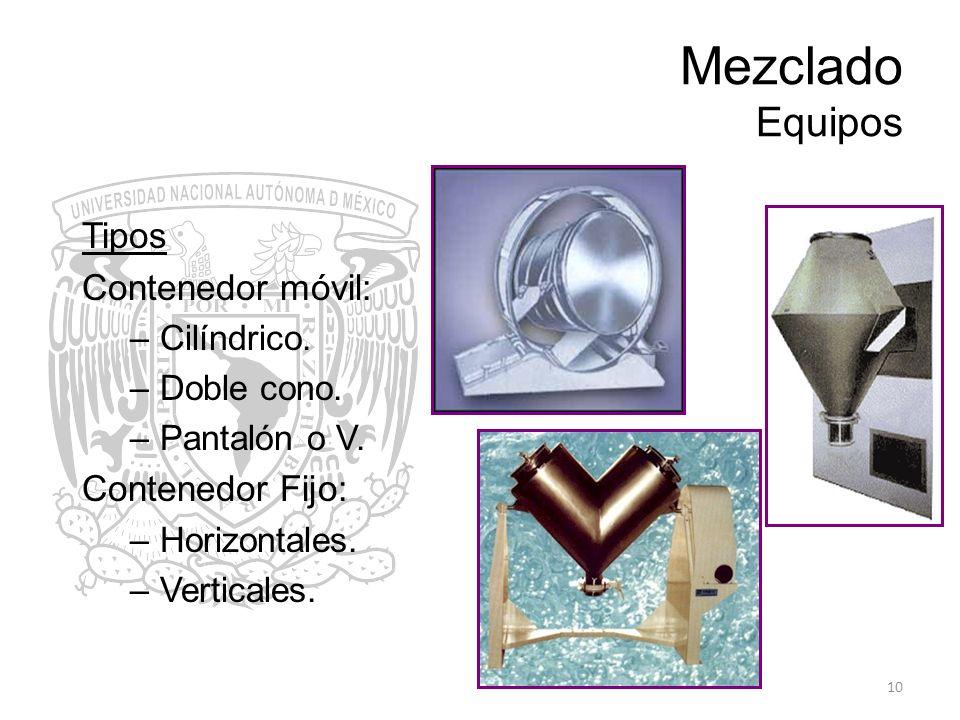 10 Mezclado Equipos Tipos Contenedor móvil: –Cilíndrico. –Doble cono. –Pantalón o V. Contenedor Fijo: –Horizontales. –Verticales.