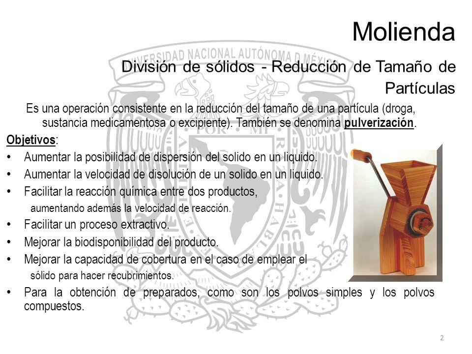2 Molienda División de sólidos - Reducción de Tamaño de Partículas Es una operación consistente en la reducción del tamaño de una partícula (droga, su