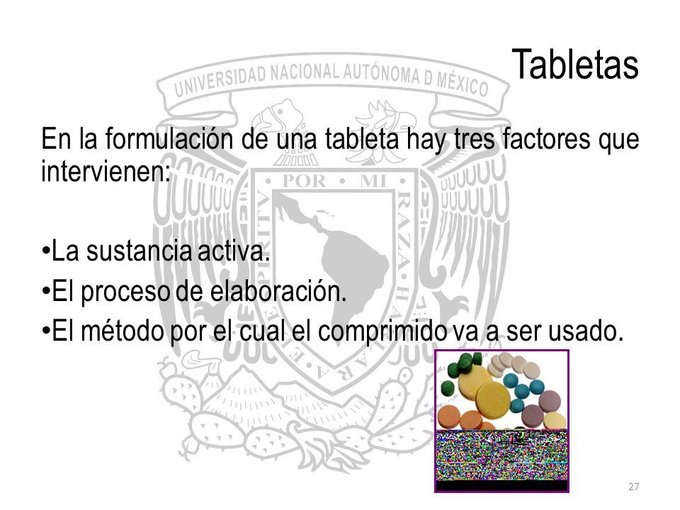 27 Tabletas En la formulación de una tableta hay tres factores que intervienen: La sustancia activa. El proceso de elaboración. El método por el cual