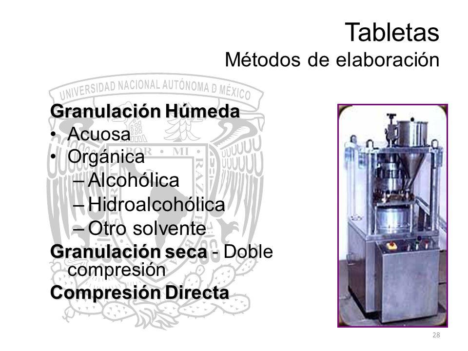 28 Tabletas Métodos de elaboración Granulación Húmeda Acuosa Orgánica –Alcohólica –Hidroalcohólica –Otro solvente Granulación seca Granulación seca -