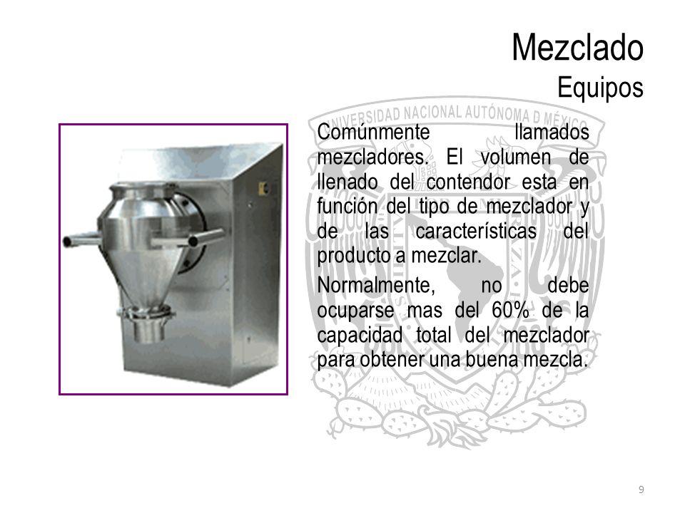 9 Mezclado Equipos Comúnmente llamados mezcladores. El volumen de llenado del contendor esta en función del tipo de mezclador y de las características