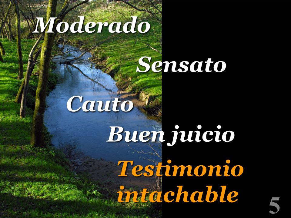5 Moderado Sensato Buen juicio Cauto Testimonio intachable