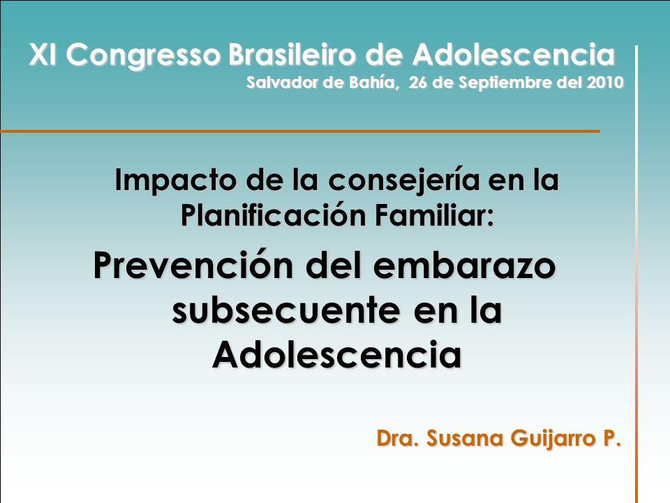Impacto de la consejería en la Planificación Familiar: Impacto de la consejería en la Planificación Familiar: Prevención del embarazo subsecuente en l